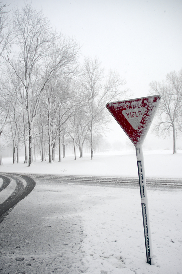 Yield sign in snow storm